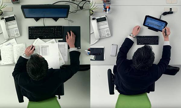 比べて分かる、快適業務で机も広々! 社内編